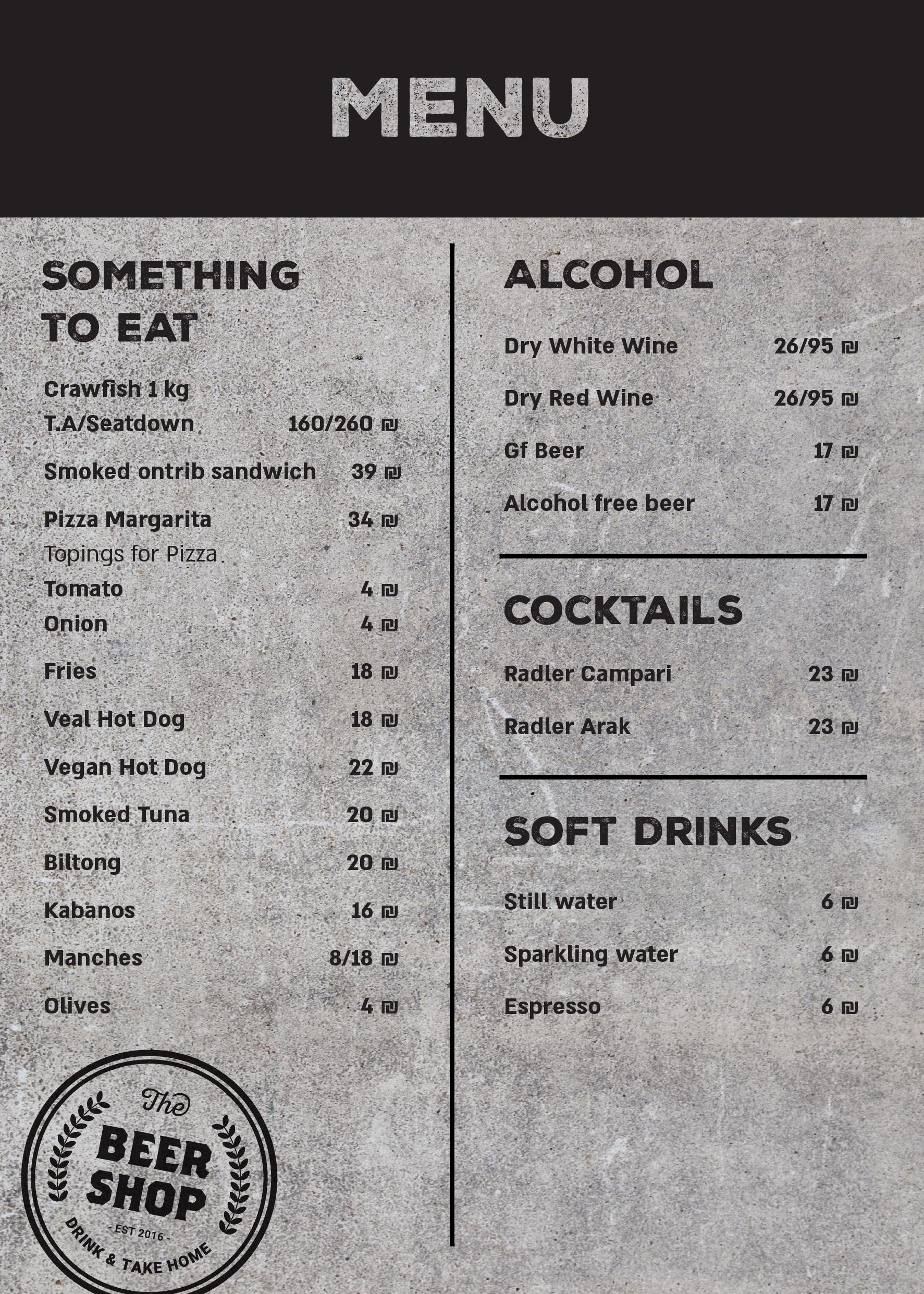 Beershop menu english